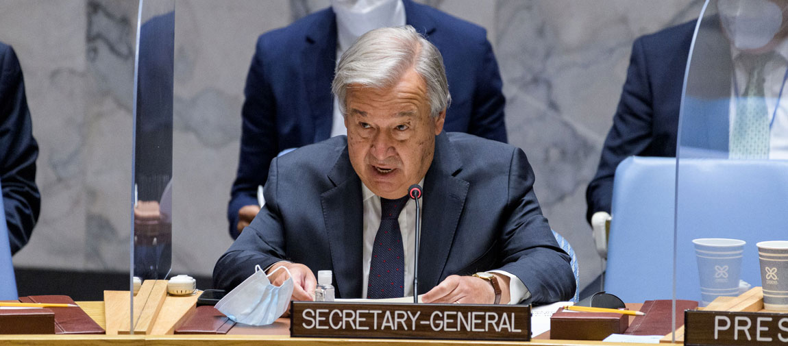 Secretary-General António Guterres briefs an emergency UN Security Council meeting on the situation in Afghanistan. UN Photo/Manuel Elías